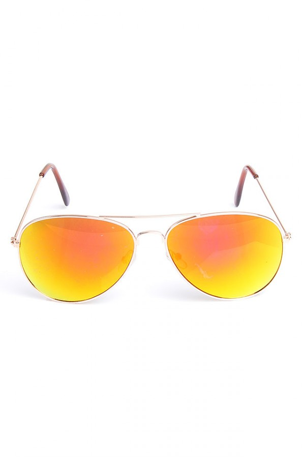 Aviator Solglasögon - Reflective Pink Orange
