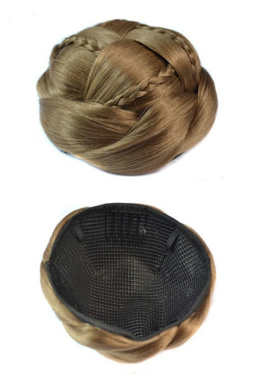Flätad Hårknut - Honey Brown Bun Mini Braid