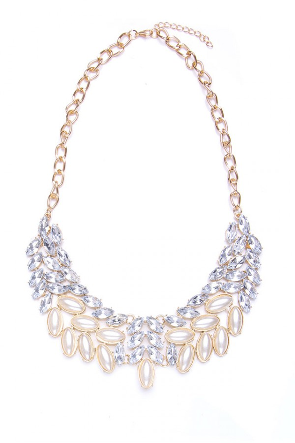 Stort Halsband - Silver Pearl