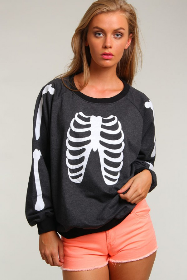 Sweatshirt Med Skelett - Grey Skeleton