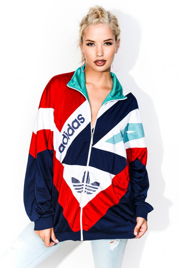 Vintage Zip - Adidas Blue With Stripes