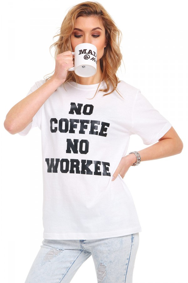 Vit T-Shirt Med Tryck - No Coffee No Workee