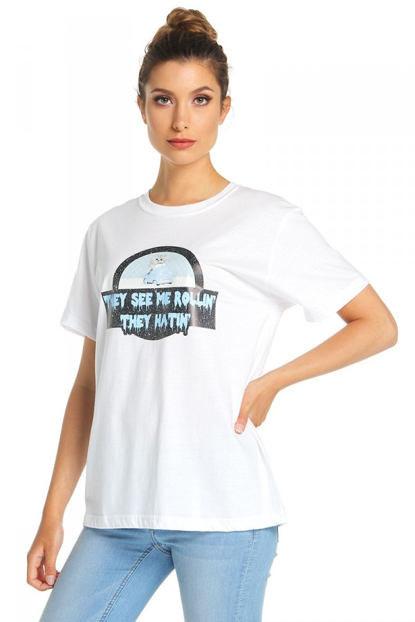 Vit T-Shirt - They See Me Rollin