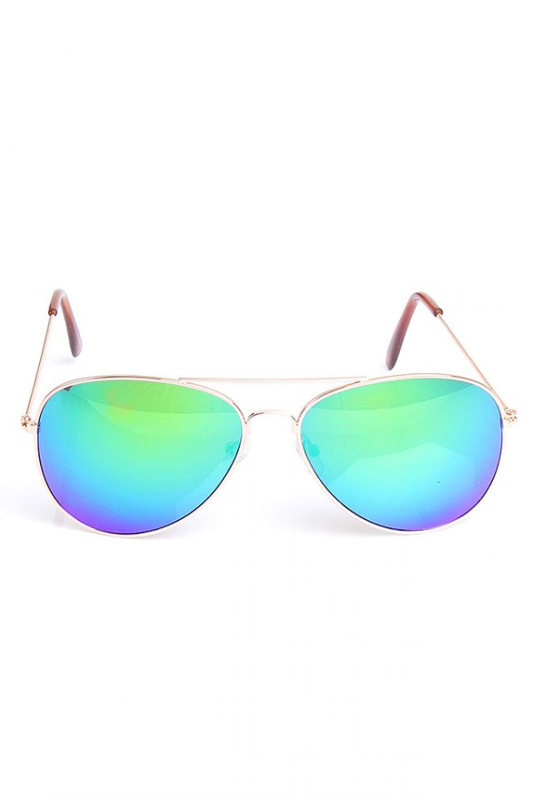 Aviator Solglasögon - Reflective Green Blue