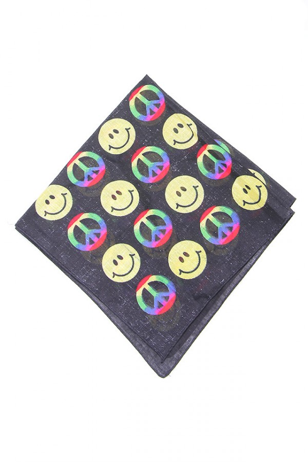 Svart Bandana - Happy Rainbow