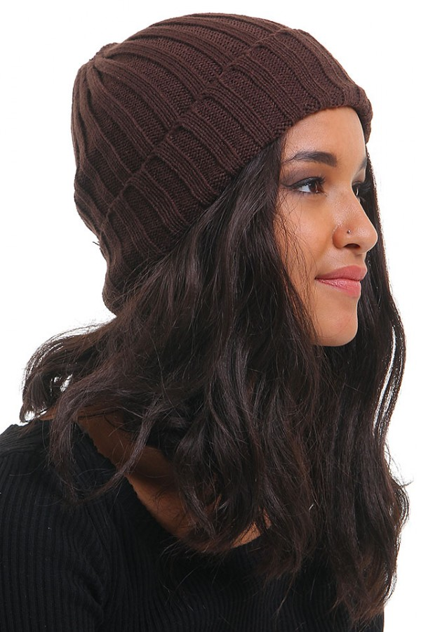 Brun Stickad Beanie - Timber