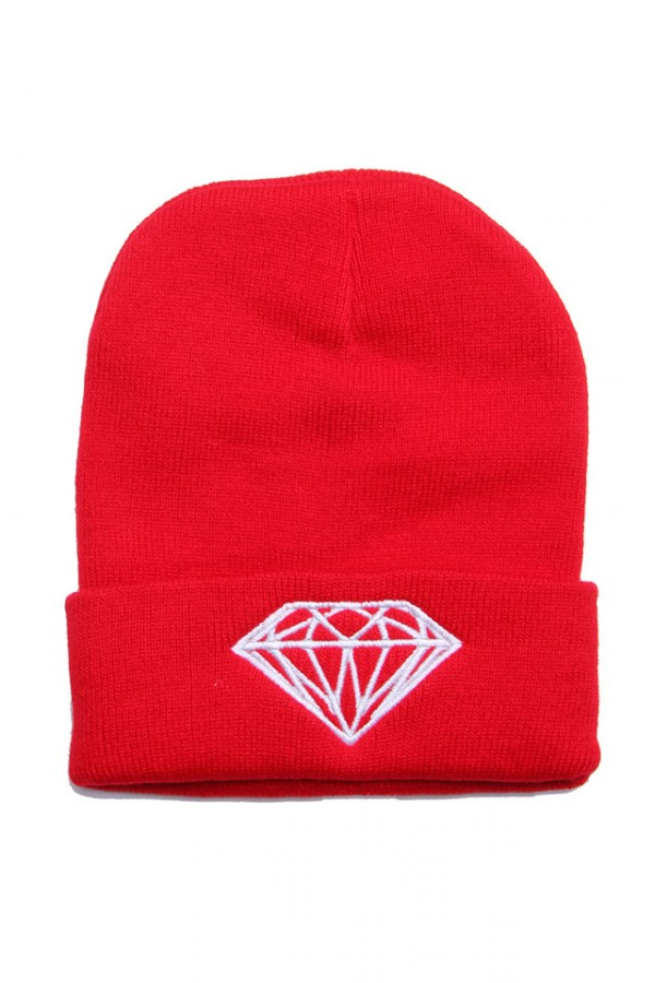 Röd Beanie - Red Diamond