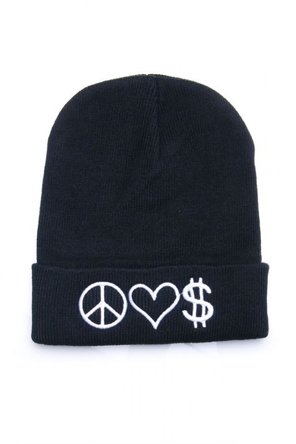 Svart Beanie - Peace Love Cash