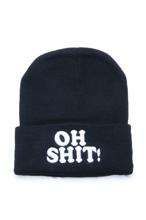 Svart Beanie - Big Fat Oh Shit