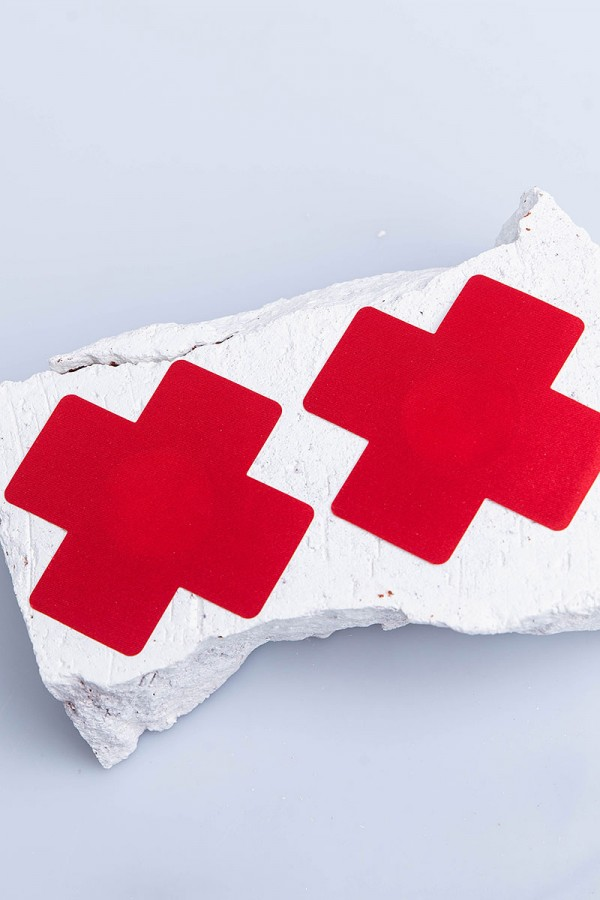 Nipple Covers - Bright Red Cross