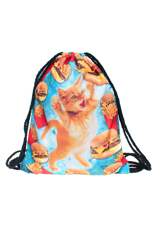 Drawstring Bag - Junk Food Cat