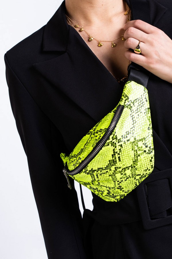 Bum Bag - Neon Lime Snake