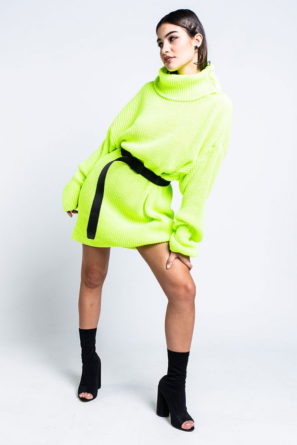 Stickad Klänning - Neon Yellow Statement
