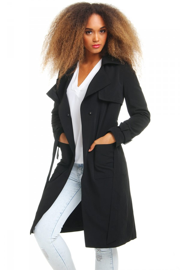 Svart Trench Coat - Lissa