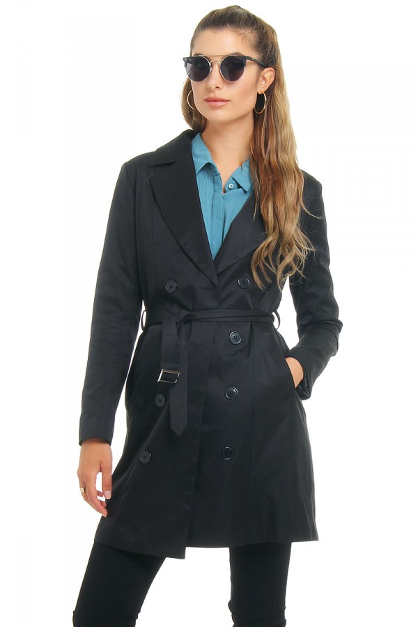 Svart Trench Coat - Sienna