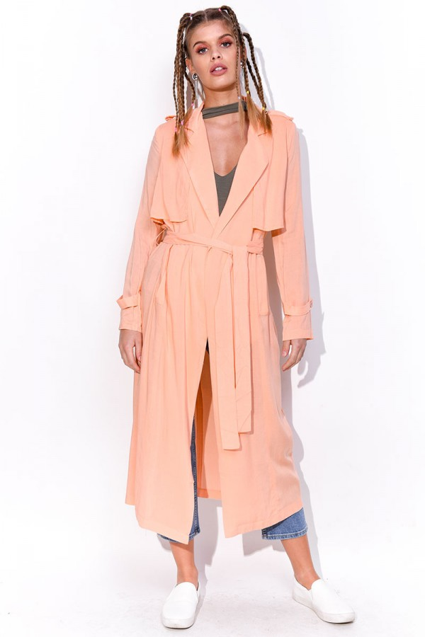 Peachfärgad Trench Coat - Grace