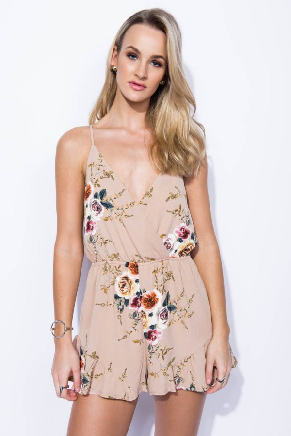 Playsuit - Flower Obsession Dusty