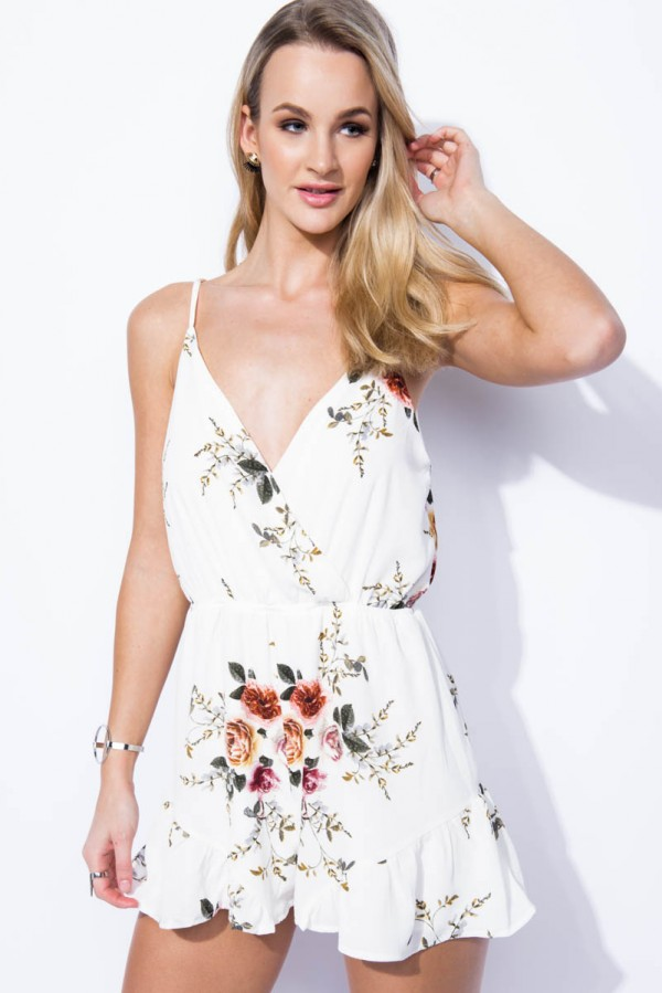 Playsuit - Flower Obsession White