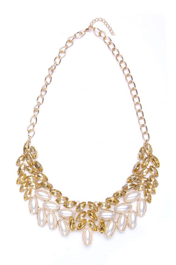Stort Halsband - Gold Pearl