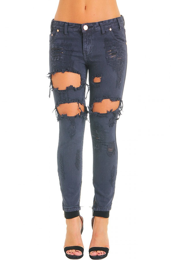Slitna Svarta Jeans - London Trashed Freebird