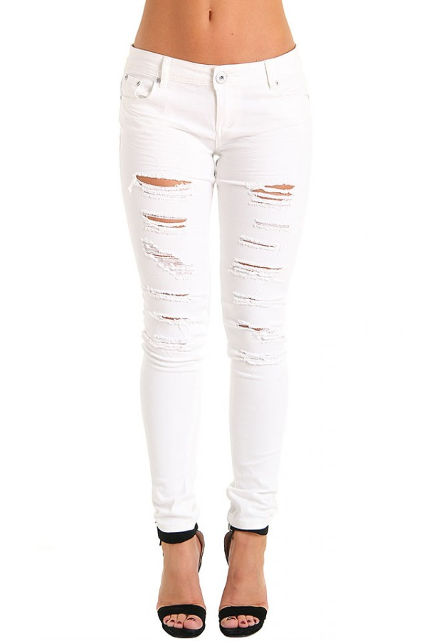 Vit Slitna Jeans - Shredded White