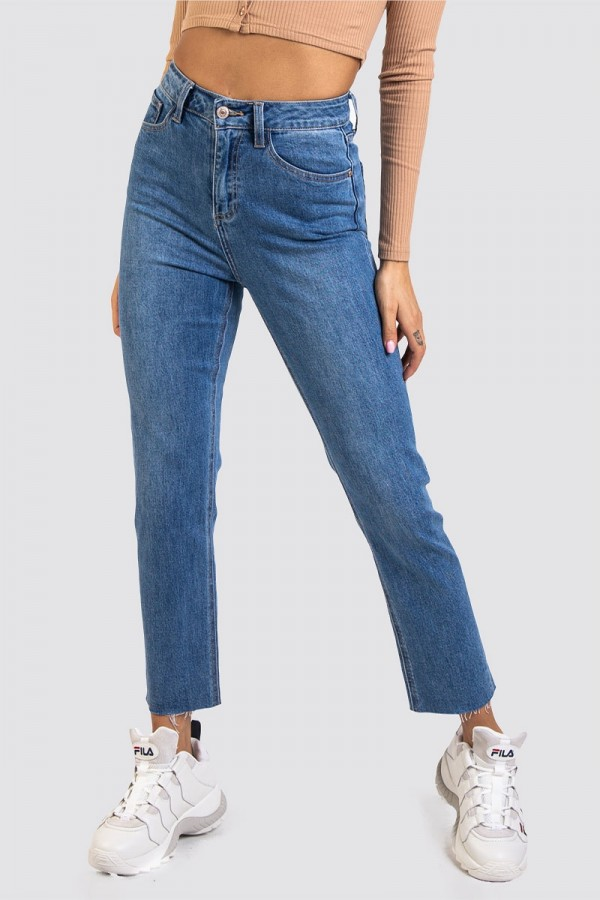 Raka Croppade Jeans - Distressed Hem Washed Blue