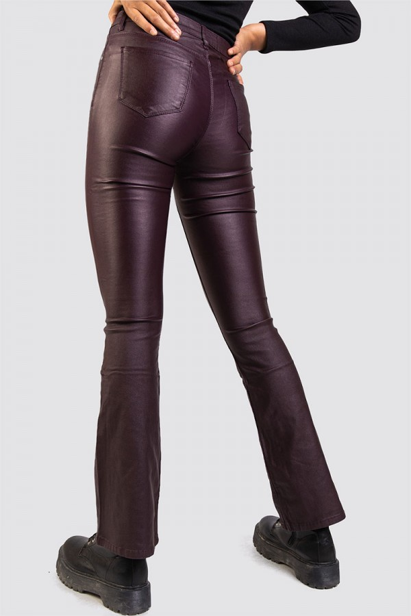 Mid Waisted Bootcut Faux Leather Plum