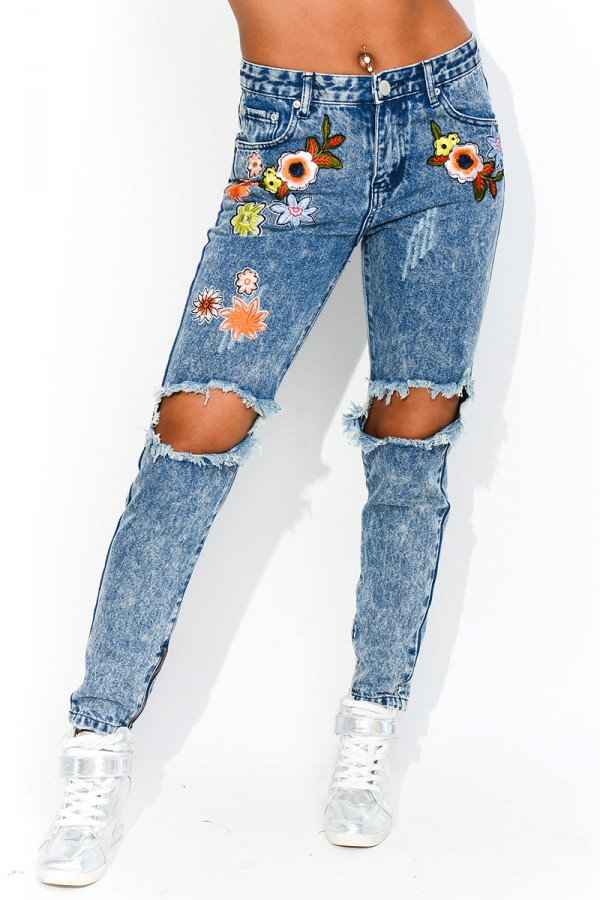 Jeans Med Patches - Ripped