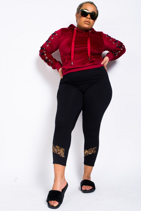 Plus Size Leggings - Basic With A Twist Gold