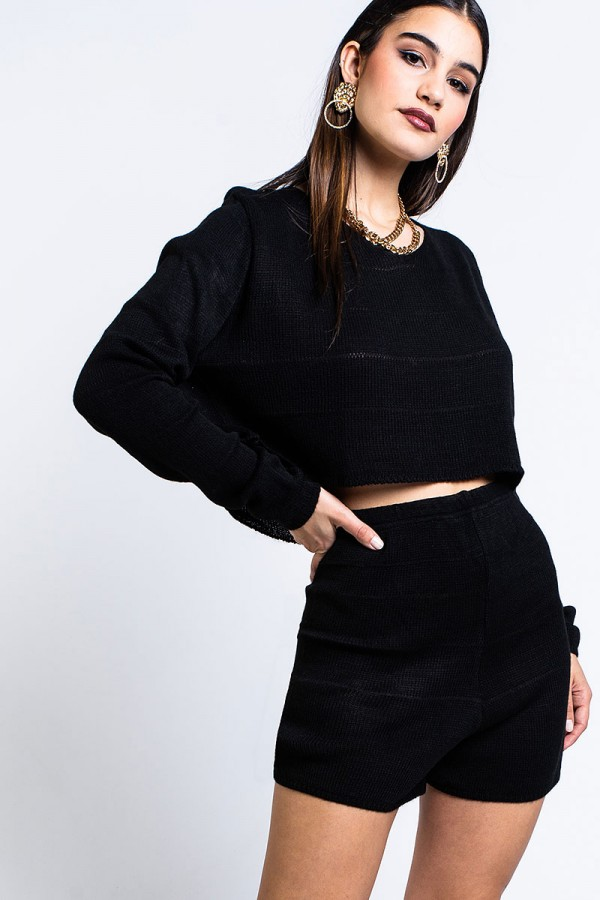 Set - Cropped Knitted Babe Black