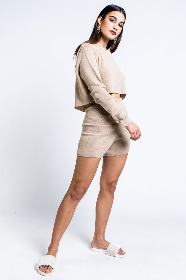 Set - Cropped Knitted Babe Beige