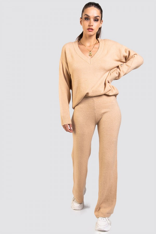 Stickat Set - Flared Knitted Warm Sand