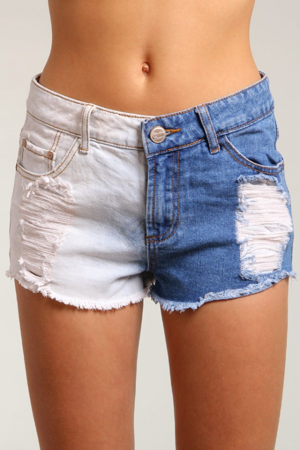 Slitna Jeansshorts - Two Tone