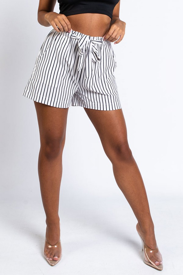 Shorts - Fatima Blue Stripe In White
