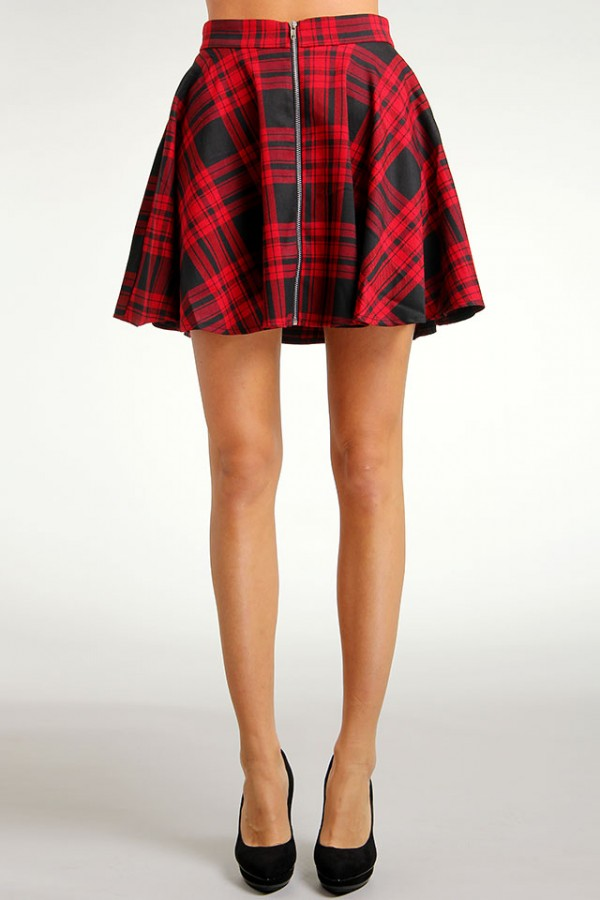 Oh My Love - Short Flare Zip Skirt
