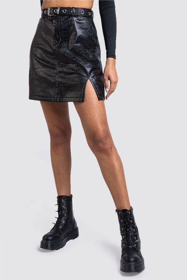 Faux Leather Croc Skirt