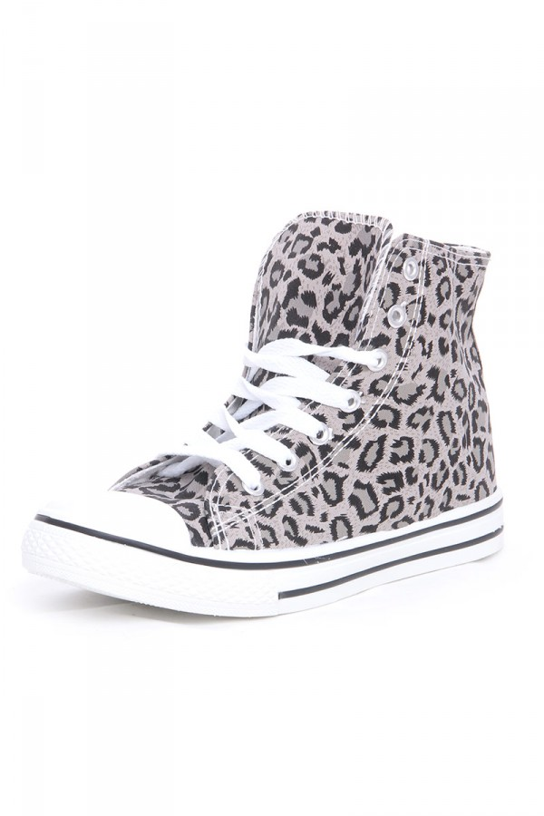 Leopardmönstrade High Top Skor - Grey Leo
