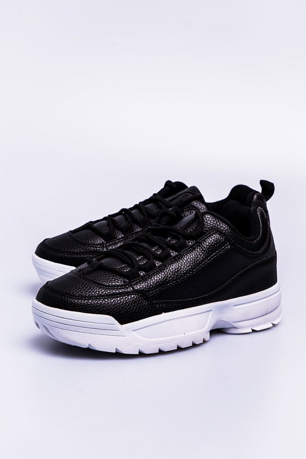 Chunky Sneakers - Faux Leather Black