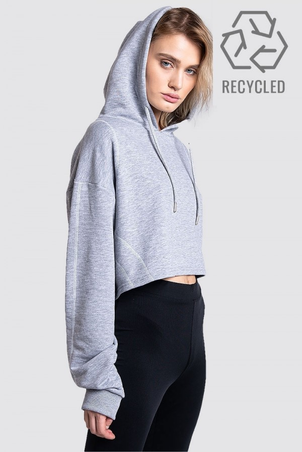 Gray cropped hoodie - REC D-01