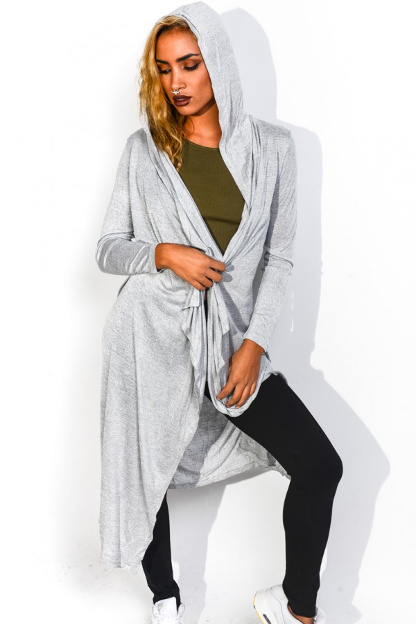 Lång Grå Cardigan - Hooded Grey