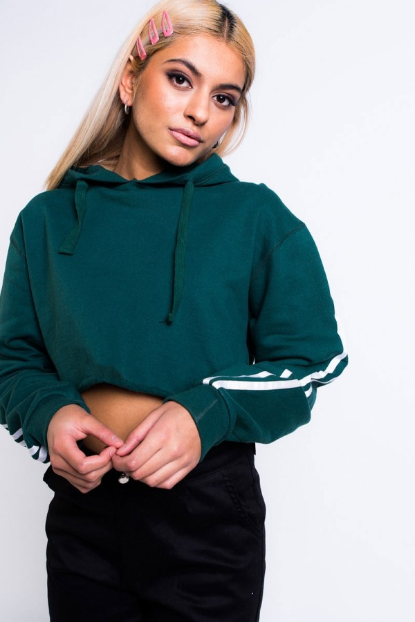 Croppad Hoodie - Fave Stripes Forest Green