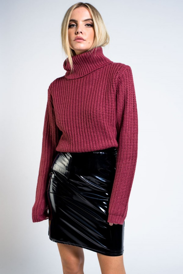 Tröja - Tinelle Roll Neck Knit Dark Mauve