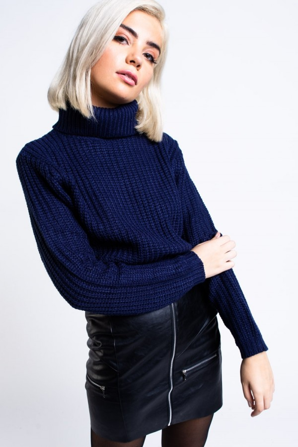 Tröja -  Tinelle Roll Neck Knit Navy