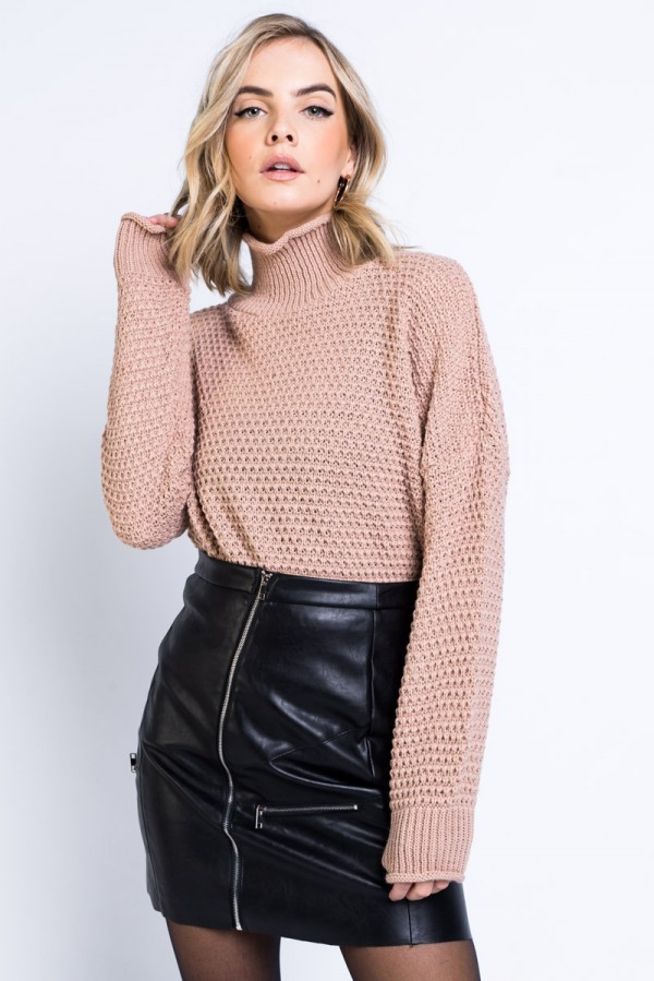 Tröja - High Neck Knit Beige