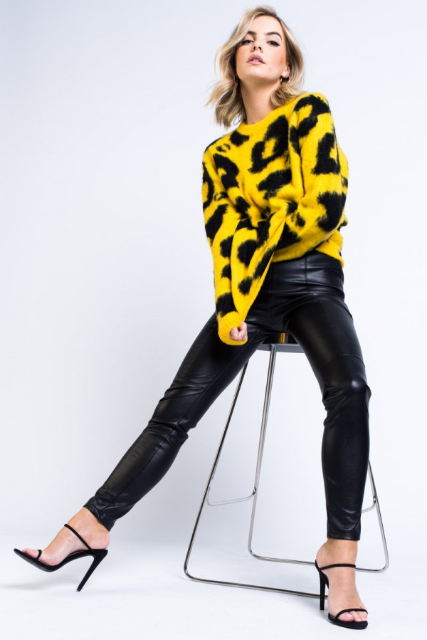 Tröja - Leopard Knit Yellow