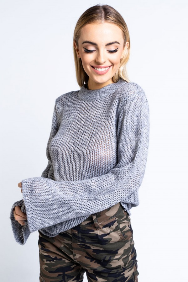 Stickad Tröja - Emina Trumpet Sleeve Knit Light Grey