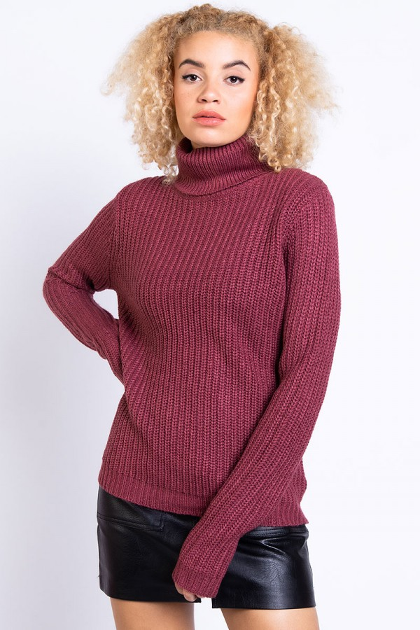 Stickad Polotröja - Tinelle Roll Neck Knit - Old Rose