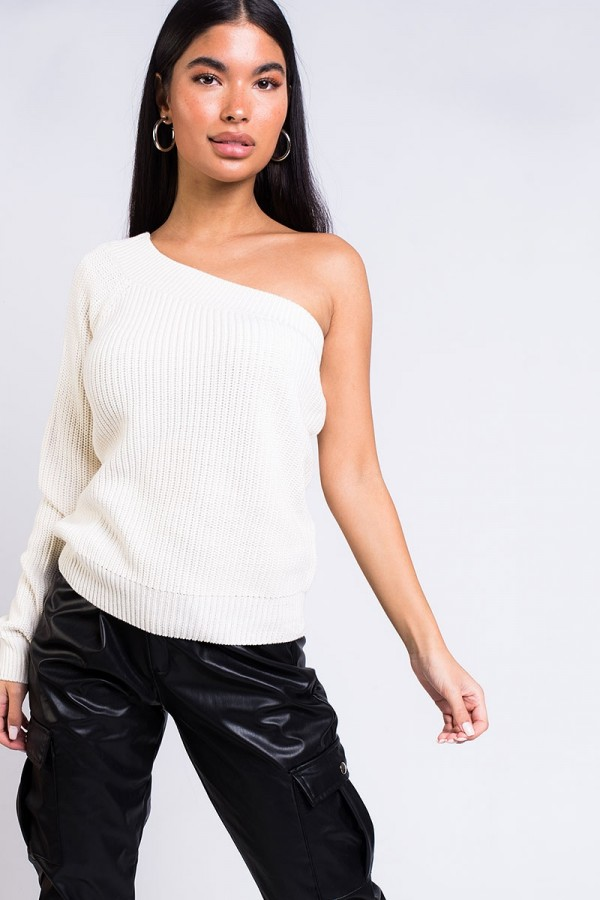 Stickad Tröja - Quini One Shoulder Knit Off White
