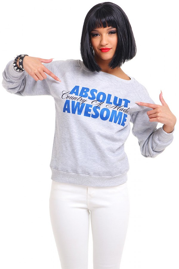 Grå Sweatshirt - Absolut Awesome