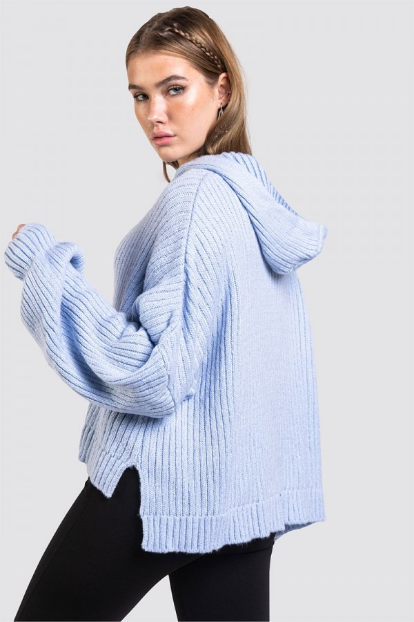 Stickad Hoodie - Perfect Oversize Knit Blue